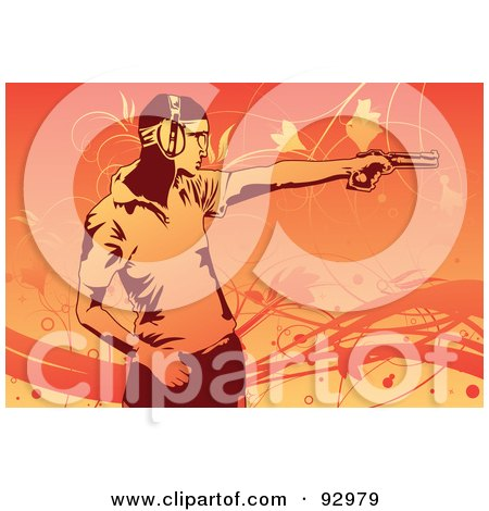 Royalty-Free (RF) Clipart Illustration of a Man Practicing At A Shooting Range by mayawizard101