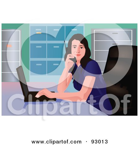 Royalty-Free (RF) Clipart Illustration of a Business Woman With A Laptop And Phone In An Office by mayawizard101