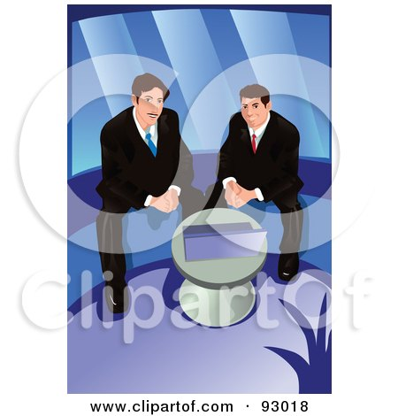 Royalty-Free (RF) Clipart Illustration of Business Men Using A Laptop by mayawizard101