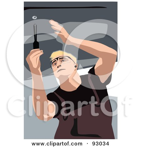 Royalty-Free (RF) Clipart Illustration of an Automotive Mechanic Working - 3 by mayawizard101