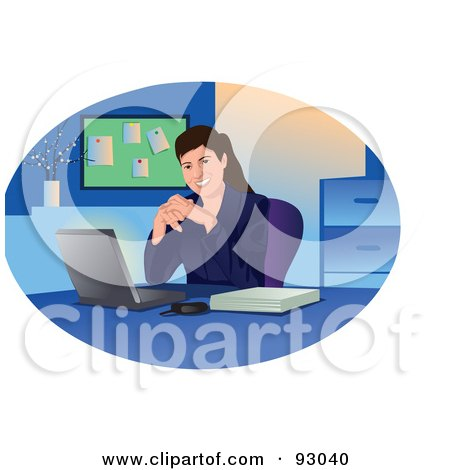 Royalty-Free (RF) Clipart Illustration of a Business Woman Smiling By Her Laptop In An Office by mayawizard101