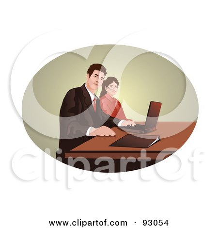 Royalty-Free (RF) Clipart Illustration of a Business Team Using A Laptop In An Oval by mayawizard101