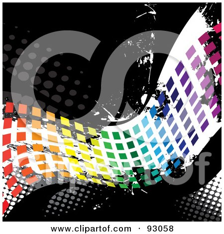 Royalty-Free (RF) Clipart Illustration of a Rainbow Wave Of Pixels Over Distressed Black And White With Halftone by Arena Creative