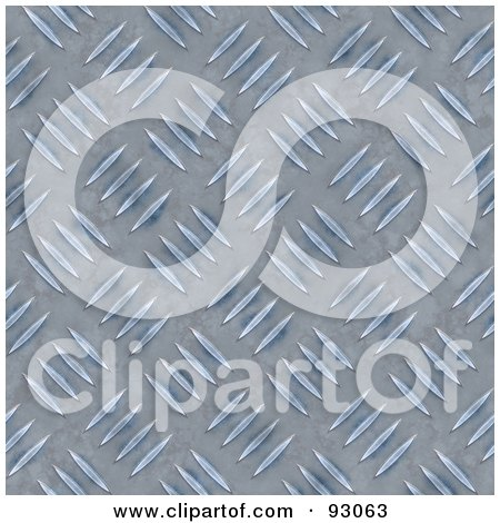 Royalty-Free (RF) Clipart Illustration of a Blue Diamond Plate Pattern Background With Distressed Marks by Arena Creative