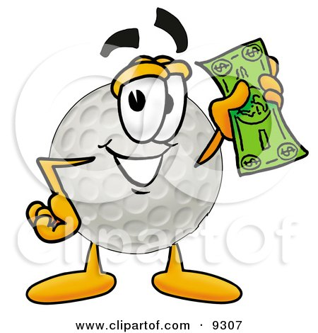 Clipart Picture of a Golf Ball Mascot Cartoon Character Holding a Dollar Bill by Toons4Biz