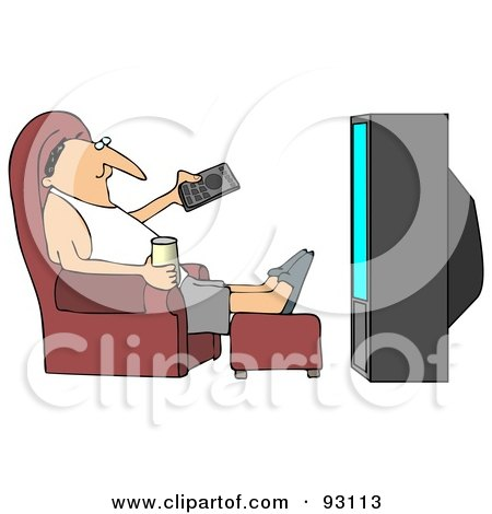 Royalty-Free (RF) Clipart Illustration of a Relaxed Guy Sitting In A Chair With A Beverage, Pointing A Remote At A TV by djart