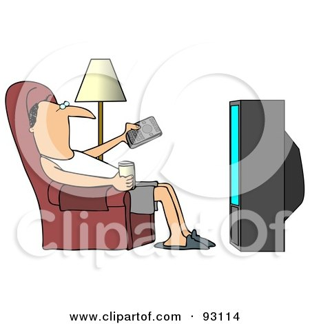 Royalty-Free (RF) Clipart Illustration of a Relaxed Man Slouching In A Chair With A Canned Beverage, Pointing A Remote At A Television by djart