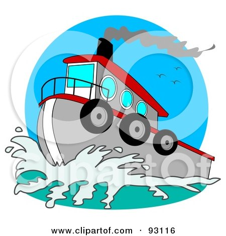 Royalty-Free (RF) Clipart Illustration of a Red And Gray Tugboat On The Sea by djart