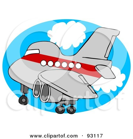 Royalty-Free (RF) Clipart Illustration of a Red And Gray Airplane Over An Oval Of Blue Sky With Clouds by djart