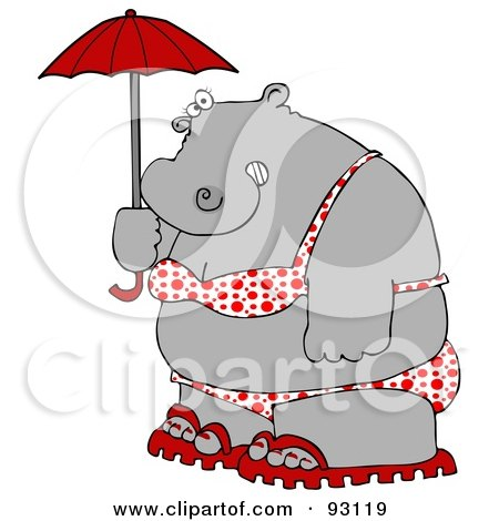 Royalty-Free (RF) Clipart Illustration of a Fat Hippo In A Polka Dot Bikini, Carrying A Parasol by djart