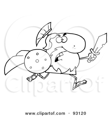 Royalty-Free (RF) Clipart Illustration of an Outlined Brave Gladiator Knight Running With A Shield And Sword by Hit Toon