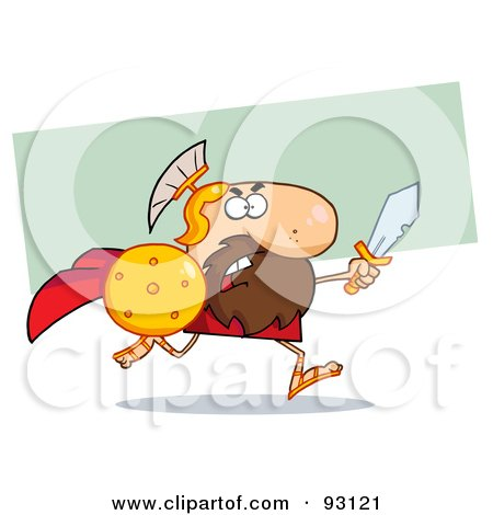 Royalty-Free (RF) Clipart Illustration of a Brave Knight Or Gladiator Running With A Shield And Sword by Hit Toon