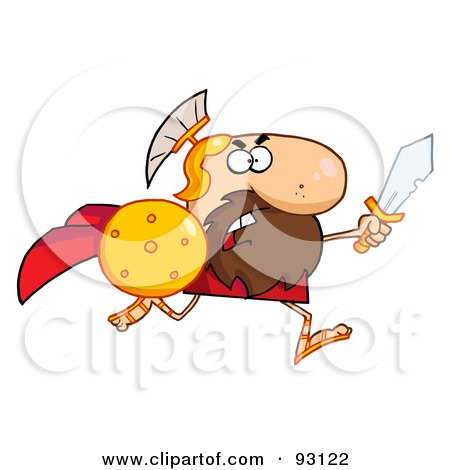 Royalty-Free (RF) Clipart Illustration of a Brave Gladiator Knight Running With A Shield And Sword by Hit Toon