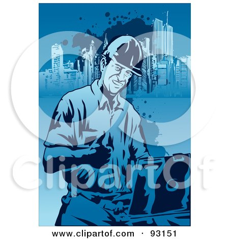 Royalty-Free (RF) Clipart Illustration of a Construction Worker Guy - 4 by mayawizard101