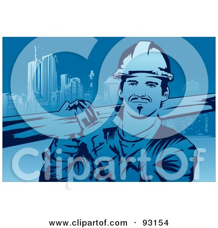 Royalty-Free (RF) Clipart Illustration of a Construction Worker - 4 by mayawizard101