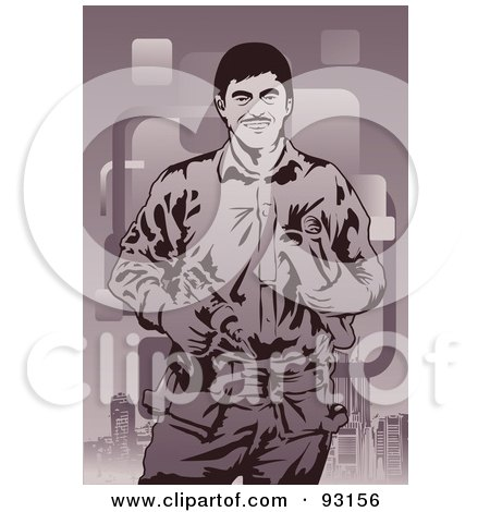 Royalty-Free (RF) Clipart Illustration of a Construction Worker - 12 by mayawizard101