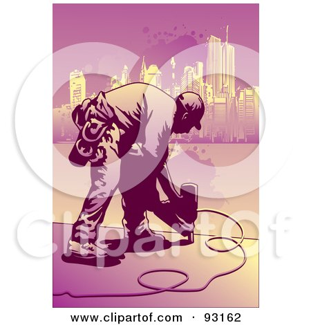 Royalty-Free (RF) Clipart Illustration of a Construction Worker - 1 by mayawizard101