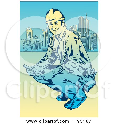 Royalty-Free (RF) Clipart Illustration of a Construction Worker - 7 by mayawizard101