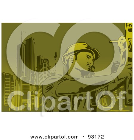 Royalty-Free (RF) Clipart Illustration of a Construction Worker - 3 by mayawizard101