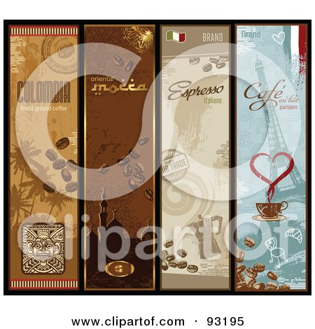 Royalty-Free (RF) Clipart Illustration of a Digital Collage Of Four Vertical Coffee Banners by Anja Kaiser