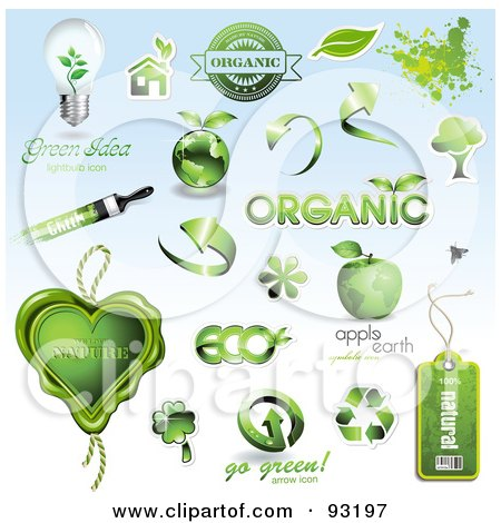 Royalty Free RF Clipart Illustration Of A Digital Collage Of Green Organic And Ecology Icons And Design Elements