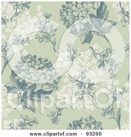 Royalty-Free (RF) Clipart Illustration of a Seamless Green And White Hydrangea Hortensia Flower Background Pattern by Anja Kaiser