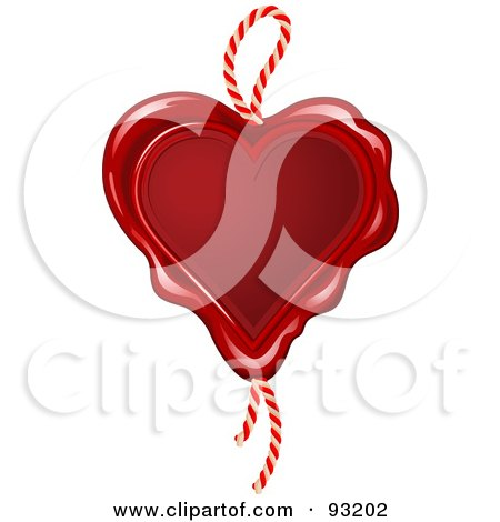 Royalty-Free (RF) Clipart Illustration of a Red Wax Seal Heart With A Rope by Anja Kaiser