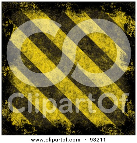 Royalty-Free (RF) Clipart Illustration of a Background Of Distressed Diagonal Hazard Stripes With Black Edges by Arena Creative