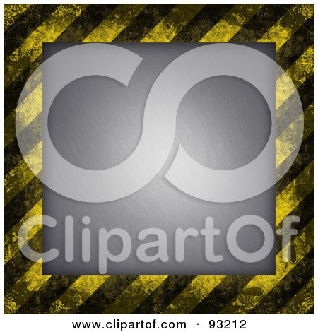 Royalty-Free (RF) Clipart Illustration of a Background Of Distressed Diagonal Hazard Stripes Around Brushed Metal by Arena Creative
