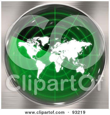 Royalty-Free (RF) Clipart Illustration of a Round Green Radar Screen With A World Map, Over Brushed Metal by Arena Creative