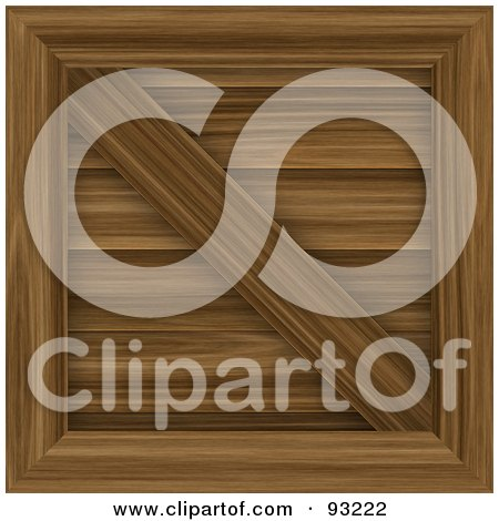 Royalty-Free (RF) Clipart Illustration of a Medium Toned Wooden Crate by Arena Creative