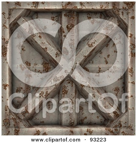 Royalty-Free (RF) Clipart Illustration of a Rusty Metal Panel by Arena Creative
