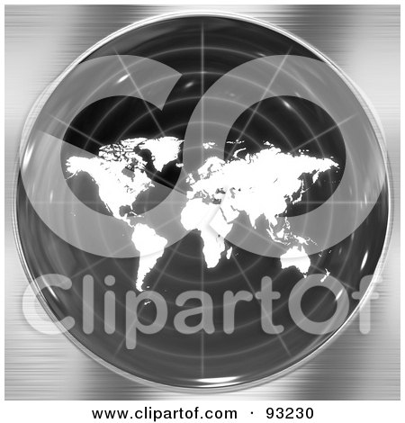 Royalty-Free (RF) Clipart Illustration of a Round Radar Screen With A White World Map, Over Brushed Metal by Arena Creative