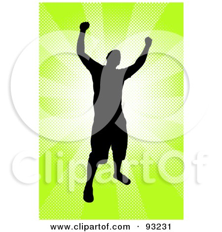 Royalty-Free (RF) Clipart Illustration of a Successful Male Silhouetted Over Bursting Green by Arena Creative