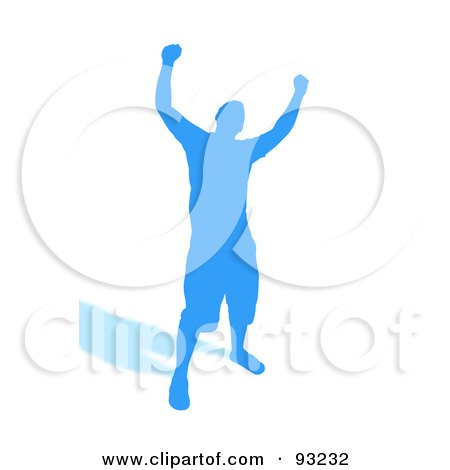 Royalty-Free (RF) Clipart Illustration of a Successful Blue Male Silhouette Over White by Arena Creative