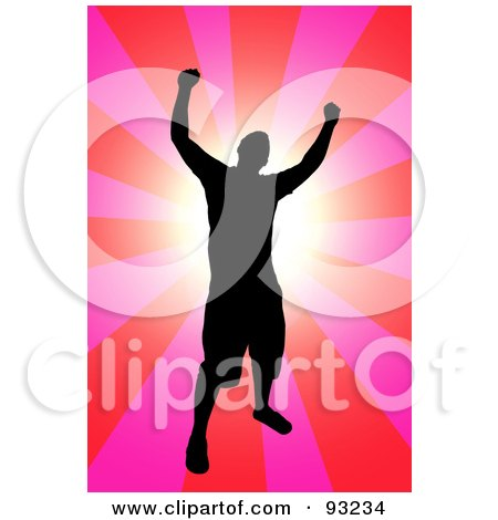 Royalty-Free (RF) Clipart Illustration of a Successful Black Male Silhouette Over A Pink And Red Burst by Arena Creative