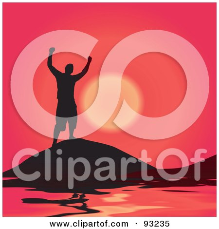 Royalty-Free (RF) Clipart Illustration of a Black Silhouetted Man On A Hill Top Over The Sea, Against A Red Sunset by Arena Creative