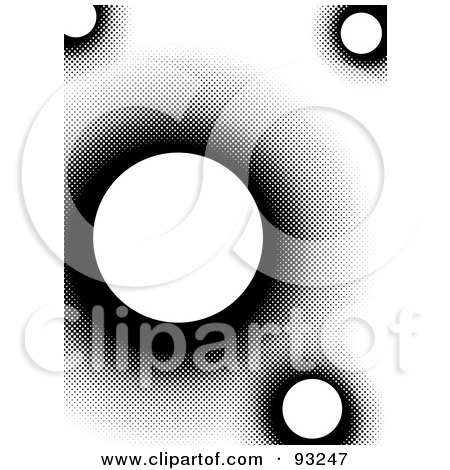 Royalty-Free (RF) Clipart Illustration of a Background Of White Circles With Black Halftone Dots On White by Arena Creative