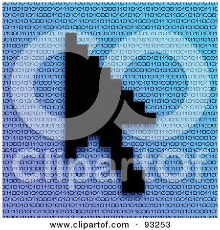 Royalty-Free (RF) Clipart Illustration of a Black Cursor Arrow Over Blue Binary by Arena Creative