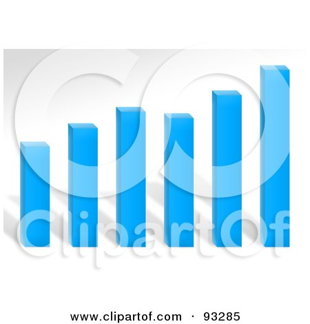 Royalty-Free (RF) Clipart Illustration of a Blue Bar Graph Over Gray by Arena Creative