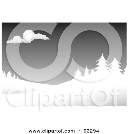 Royalty-Free (RF) Clipart Illustration of a Winter Scene Of Evergreens Under A Gray Sky by Arena Creative