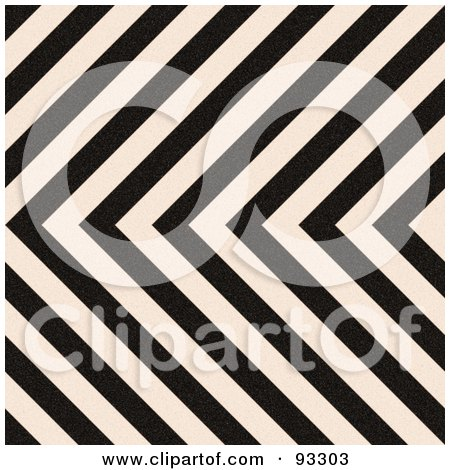 Royalty-Free (RF) Clipart Illustration of a Zig Zag Hazard Stripes Background In Black And White by Arena Creative