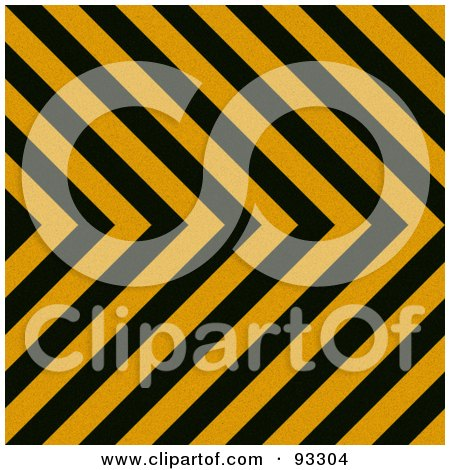 Royalty-Free (RF) Clipart Illustration of a Zig Zag Hazard Stripes Background In Black And Orange by Arena Creative