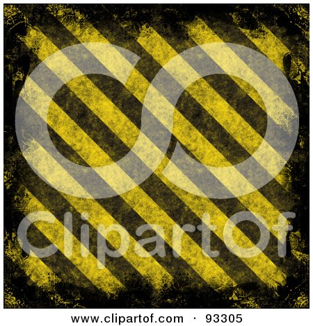 Royalty-Free (RF) Clipart Illustration of a Black Grunge Border With Diagonal Yellow And Black Hazard Stripes by Arena Creative