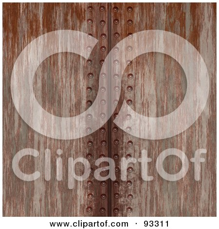Royalty-Free (RF) Clipart Illustration of a Vertical Line Of Rivets In Rusted Metal by Arena Creative