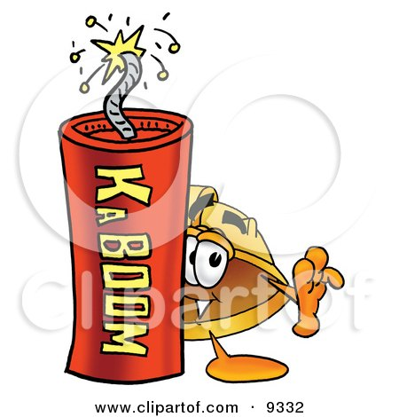 Clipart Picture of a Hard Hat Mascot Cartoon Character Standing With a Lit Stick of Dynamite by Toons4Biz