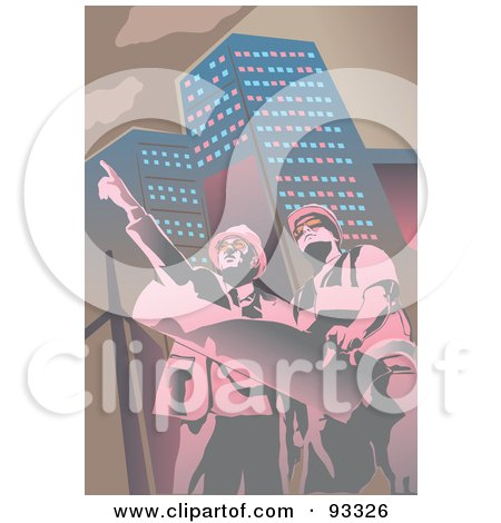 Royalty-Free (RF) Clipart Illustration of Two Architects by mayawizard101