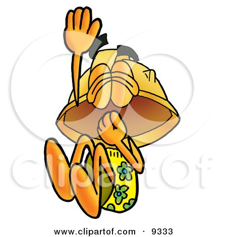 Clipart Picture of a Hard Hat Mascot Cartoon Character Plugging His Nose While Jumping Into Water by Toons4Biz
