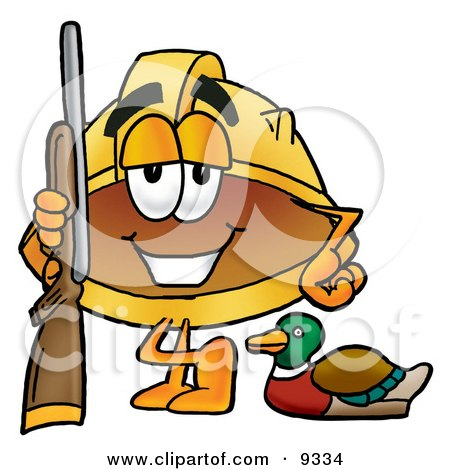 Clipart Picture of a Hard Hat Mascot Cartoon Character Duck Hunting, Standing With a Rifle and Duck by Toons4Biz