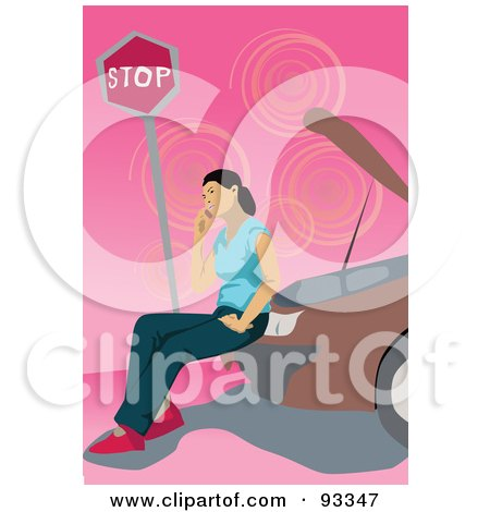 Royalty-Free (RF) Clipart Illustration of a Woman Calling For Road Side Assistance And Sitting On Her Broken Down Car by mayawizard101